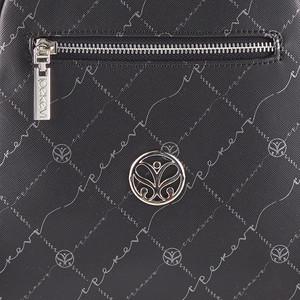 Siyah Gümüş Monogram Sırt Çantası - Thumbnail