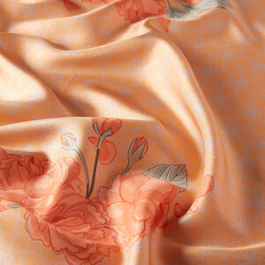 - Somon Sakura Monogram Desenli Tivil İpek Eşarp (1)