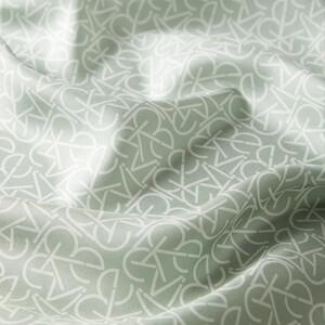 ipekevi - Typo Monogram Mint Yeşili Tivil İpek Eşarp (1)