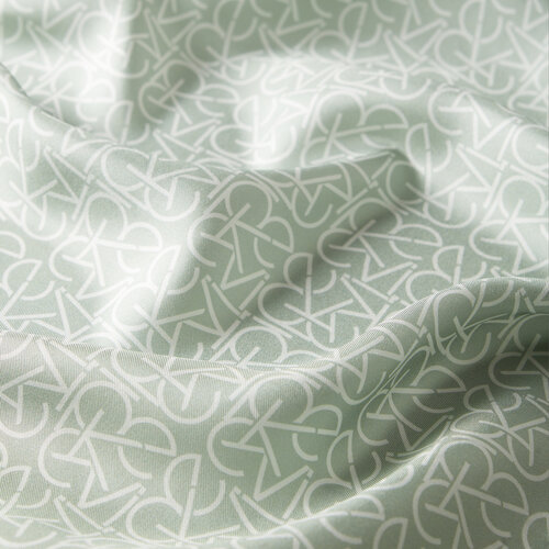 Typo Monogram Mint Yeşili Tivil İpek Eşarp