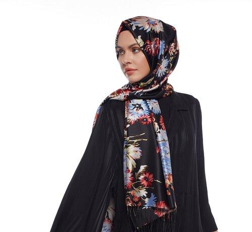 Yeni Siyah Kasımpatı Desenli İpek Şal