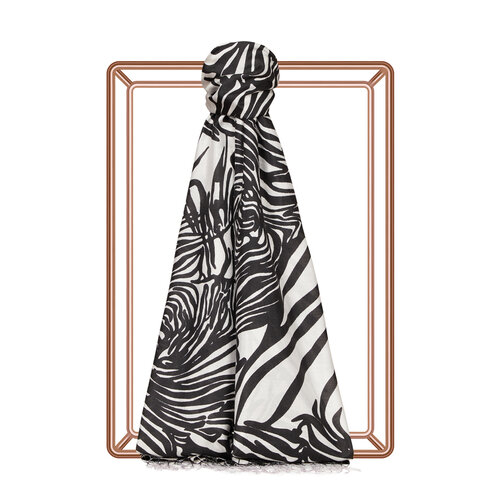 Zebra Desenli İnce İpek Şal