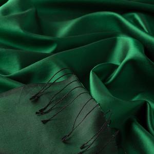 Zümrüt Yeşili Çift Taraflı İpek Şal - Thumbnail