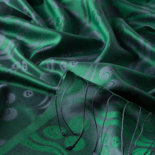Zümrüt Yeşili Çintemani Desenli İpek Şal