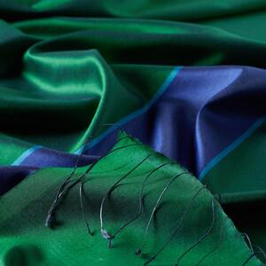 ipekevi - Zümrüt Yeşili Çizgili İpek Şal (1)