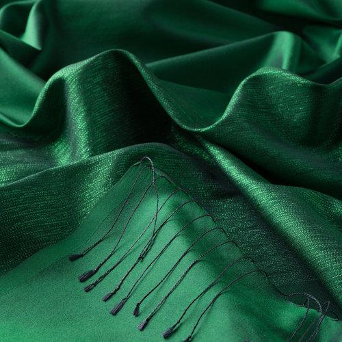 Zümrüt Yeşili Düşes Simli İpek Şal