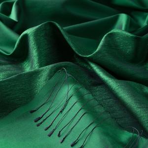 ipekevi - Zümrüt Yeşili Düşes Simli İpek Şal (1)