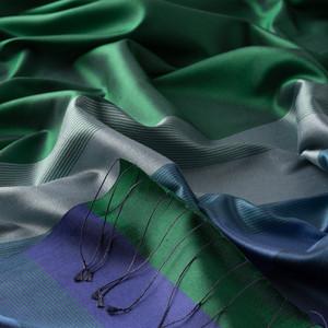 - Zümrüt Yeşili Elitist Çizgili İpek Şal (1)