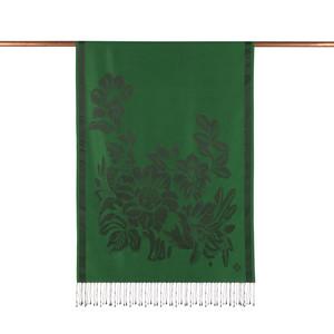 - Zümrüt Yeşili Has Bahçe Desenli İpek Şal (1)