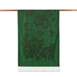 ipekevi - Zümrüt Yeşili Nev Bahçe Desenli İpek Şal (1)