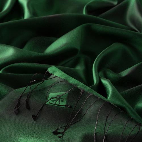 Zümrüt Yeşili Püskürtme Desenli İpek Şal