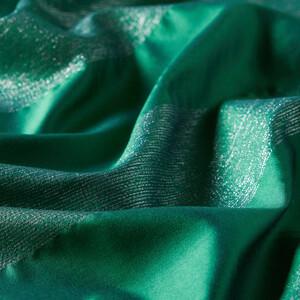 ipekevi - Zümrüt Yeşili Simli Blok İpek Şal (1)