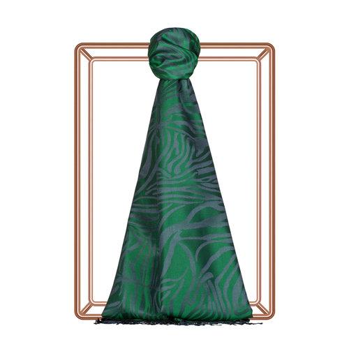Zümrüt Yeşili Zebra Jakar Desenli İpek Şal