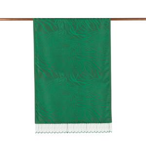 ipekevi - Zümrüt Yeşili Zebra Jakar Desenli İpek Şal (1)