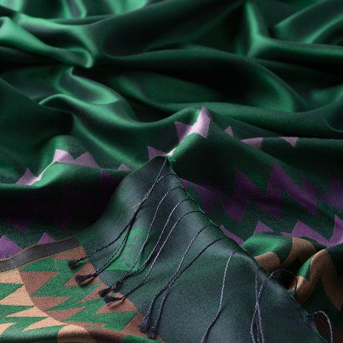 Zümrüt Yeşili Zig Zag Desenli İpek Şal